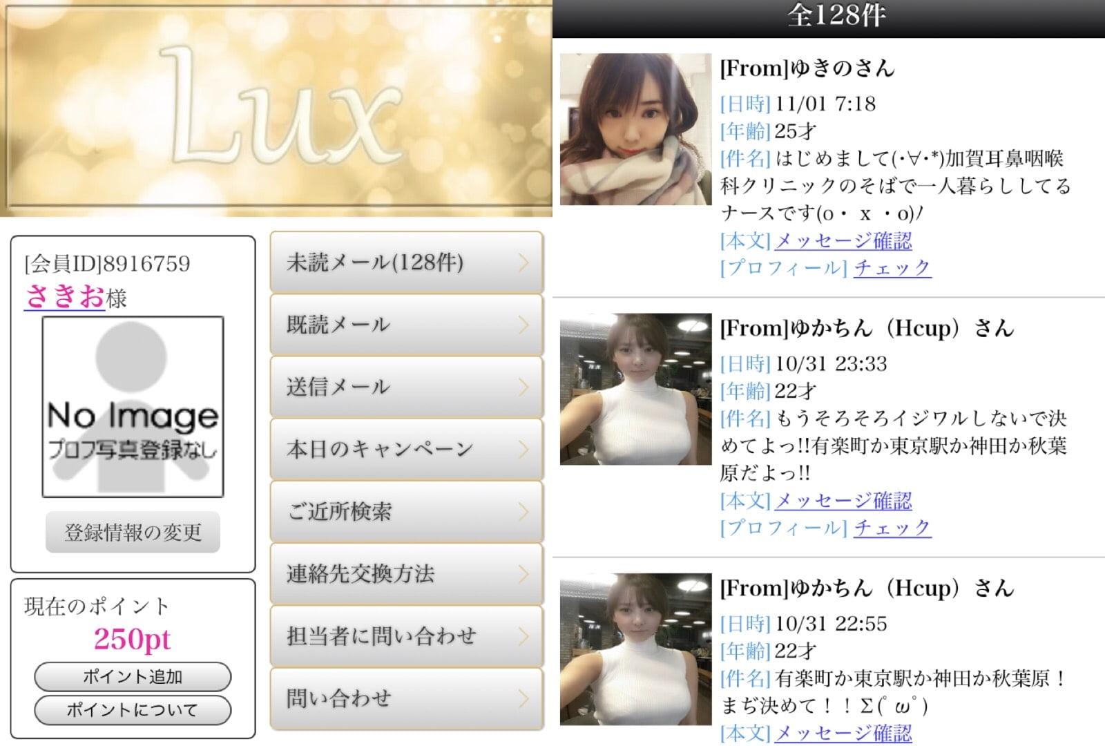 LUXでのやり取り例